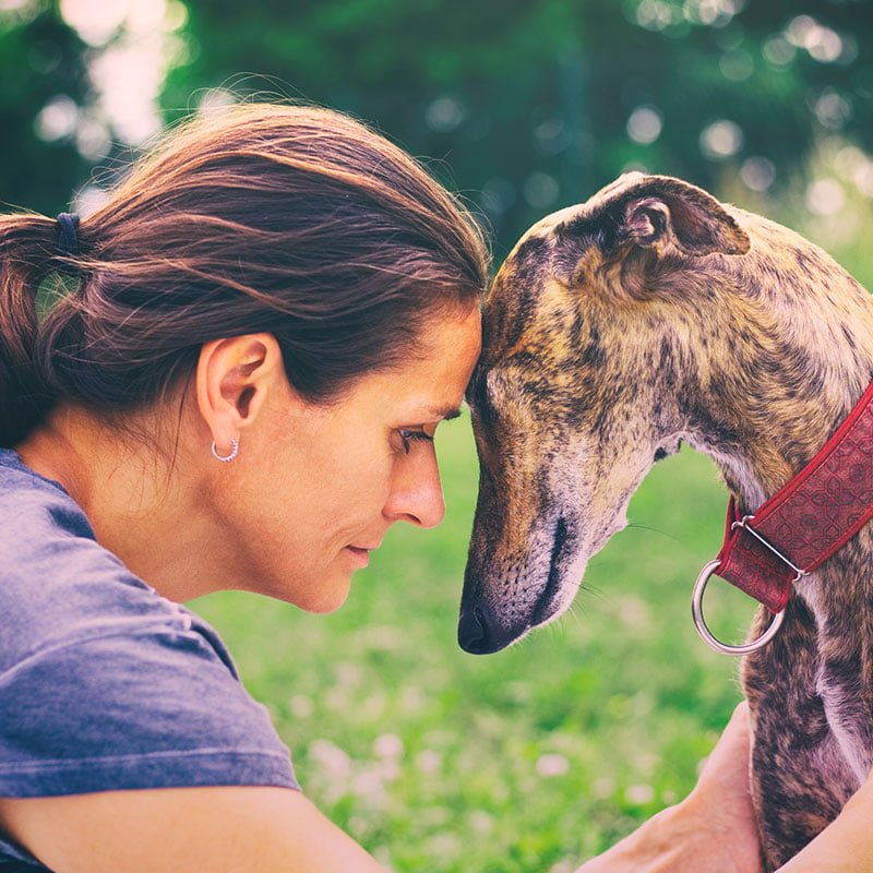 Woman with her dog after taking CBD Oil